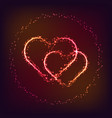 shiny glowing heart shapes on dark red background vector image