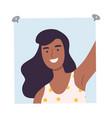 shot happy african american girl taking selfie vector image vector image