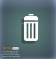 The trash icon symbol on the blue-green abstract vector image