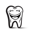 tooth cartoon black and white icon vector image