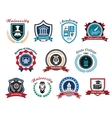 University academy and college emblems or logos vector image vector image