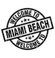 welcome to miami beach black stamp vector image vector image
