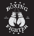 label with boxing gloves vector image