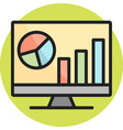 analytics on screen line filled icon vector image vector image