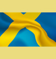 background swedish flag in folds tricolour vector image vector image