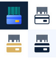 barcode with a credit card stock icon set the vector image