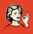 beautiful girl shows hand gesture ok retro comic vector image