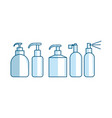bottle tube spray container shape set vector image