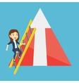 Business woman climbing on mountain vector image vector image