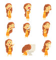 cartoon unhappy woman suffering from pain with vector image vector image