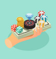 casino isometric background vector image vector image