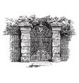 colonial gate charleston vintage engraving vector image vector image
