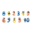 colorful cute doodle monsters numbers set vector image vector image