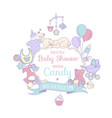 cute bashower invitation for boy or girl party vector image vector image