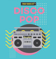 disco pop poster template with retro boombox vector image vector image