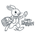 easter bunny running with basket full of eggs vector image vector image