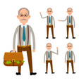 elderly person holding bag with money on white vector image vector image