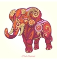 Elephant pink ornament ethnic vector image