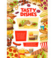 fast food restaurant lunch poster vector image vector image