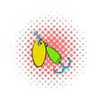 Fishing spinner icon comics style vector image vector image