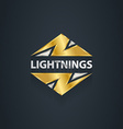Gold lightnings 3d logo with shadow graphics vector image
