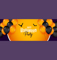 happy halloween party banner with balloons