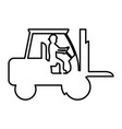 line pictograph laborer with forklift equipment vector image