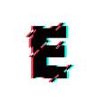 logo letter e glitch distortion diagonal vector image
