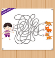 Maze Game funny kid try to find animals vector image vector image