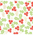 misteltoe seamless pattern white background vector image
