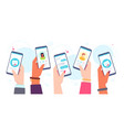 mobile dating app hands holding phones with vector image