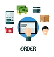 Order and shop online flat concept vector image