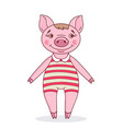 pig dressed in a striped leotar vector image vector image