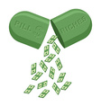 Pill for rich Medicine for wealth In tablet a lot vector image vector image
