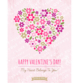 pink background with valentine heart of spring flo vector image vector image