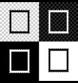 postal stamp icon isolated on black white and vector image vector image