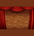 red curtains on brick wall background vector image vector image