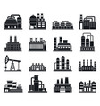 refinery plant factory icons set simple style vector image