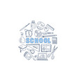school stationary equipment set hand drawn vector image vector image