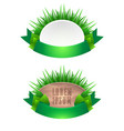 set of icons with grass leaves and green ribbons vector image