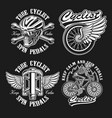 set vintage black and white logos for bicycle vector image vector image