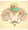 Sketch cute ram in hipster style vector image