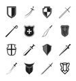 Sword and shield icons set vector image vector image
