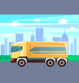 transport in city cityscape and lorry van delivery vector image