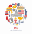 usa culture symbol set europe travel usa vector image