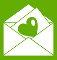 vintage envelopes and heart icon green vector image