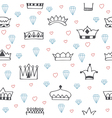 Vintage seamless pattern with hand drawn crowns vector image vector image