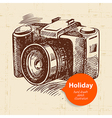 Vintage travel and holiday background with camera vector image vector image