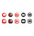 youtube modern 3d and flat icons set vector image