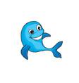 funny dolphin cartoon marine animal sign vector image